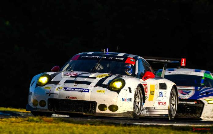 Porsche Works 911 RSR last race: Porsche No. 912 left-front on track - 2016 Petit Le Mans Road Atlanta. Credit: PAG