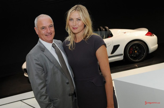 Maria Sharapova 2017 early professional tennis comeback: Markus Günthardt, Tournament Director, with Maria Sharapova. Credit: Porsche AG