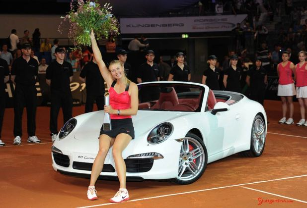 Maria Sharapova 2017 early professional tennis comeback: Maria Sharapova is seen here as Porsche Tennis Grand Prix 2012 winner, with a white 911 Cabriolet. Credit PAG