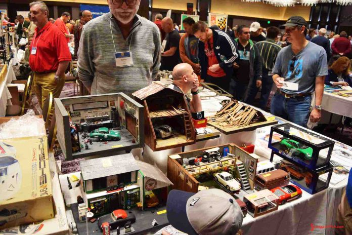 2017 Porsche L.A. Literature, Toy and Memorabilia Meet Weekend: Pictured here is the 2017 Porsche LA Lit Meet large ballroom, with some excellent Porsche-themed dioramas in f.g. Credit: StuttgartDNA