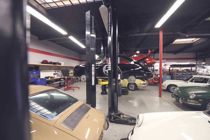 2017 Porsche L.A. Literature, Toy and Memorabilia Meet Weekend: Another angle of the shop at Benton Performance, Anaheim, California. Credit: Benton Performance