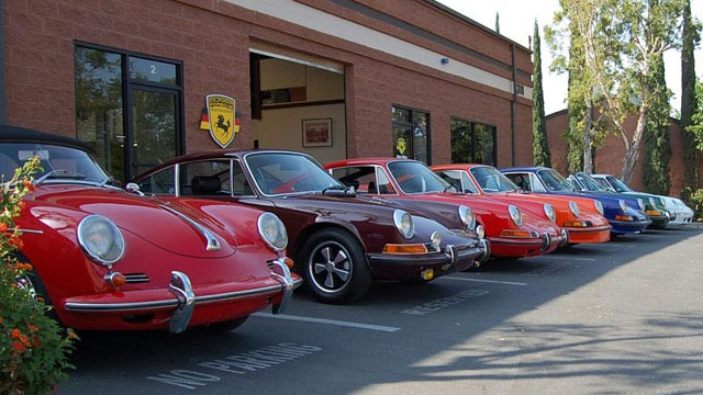 2017 Porsche L.A. Literature, Toy and Memorabilia Meet Weekend: Seen here are finished gems a Porsche 356 and early Porsche 911s just outside CPR: Examples of the fine work done at California Porsche Restoration. Credit: California Porsche Restoration