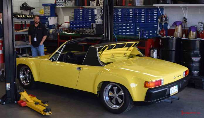 2017 Porsche L.A. Literature, Toy and Memorabilia Meet Weekend: Callas racing yellow 1971 Porsche 914-6, seen here from a left-rear angle, a completed restoration project by the Callas Rennsport shop. Credit: StuttgartDNA