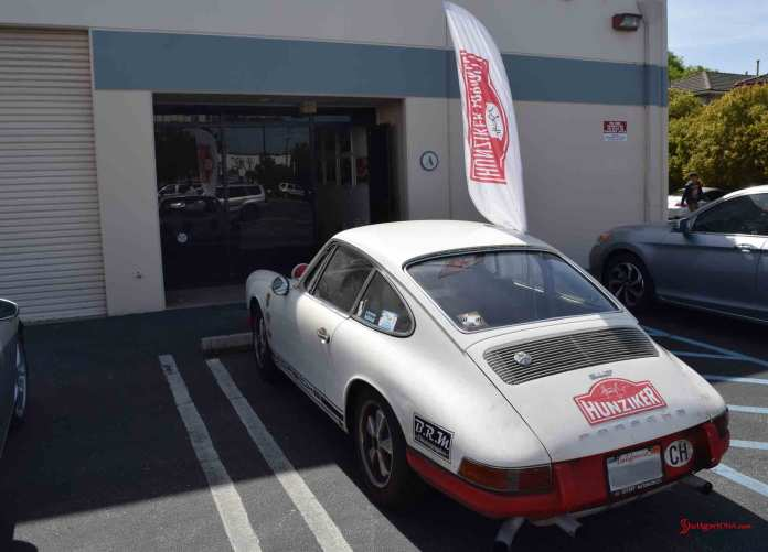 2017 Porsche L.A. Literature, Toy and Memorabilia Meet Weekend: Seen here is Hunziker Design entrance to Suite A, with the original-condition Hunziker 911 out front. Credit: StuttgartDNA