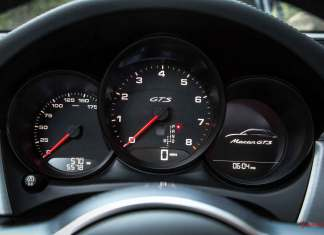 Porsche May 2017 USA sales: a tight shot of the Macan GTS dashboard is seen here. Credit: Porsche AG