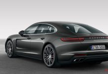 October 2017 USA Porsche sales: A dark-grey Panamera Turbo is seen here from the left rear in studio. Credit: Porsche AG.