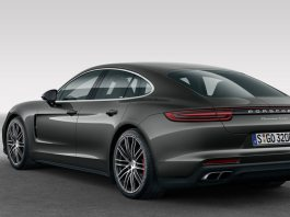 2017 Panamera and 2018 Panamera voluntary recall: A dark-grey Panamera Turbo is seen here from the left rear in studio. Credit: Porsche AG.