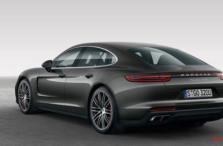 October 2017 USA Porsche sales: A dark-grey Panamera Turbo is seen here from the left rear in studio. Credit: Porsche AG.
