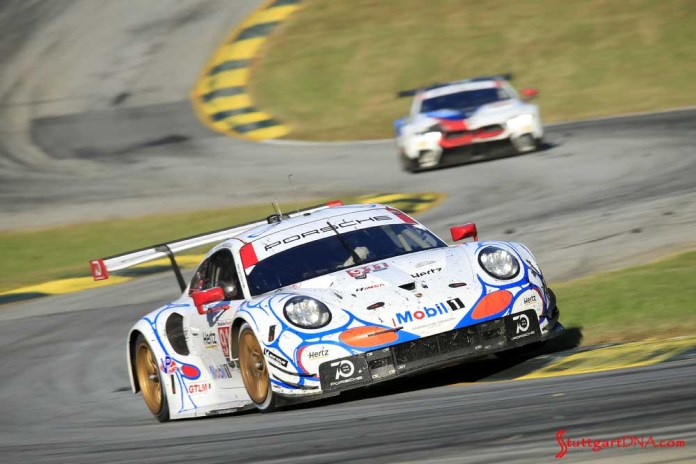 Porsche wins 2018 Petit Le Mans: Seen here at speed is the winning No. 911 on the Road Atlanta track curves. Credit: Porsche AG