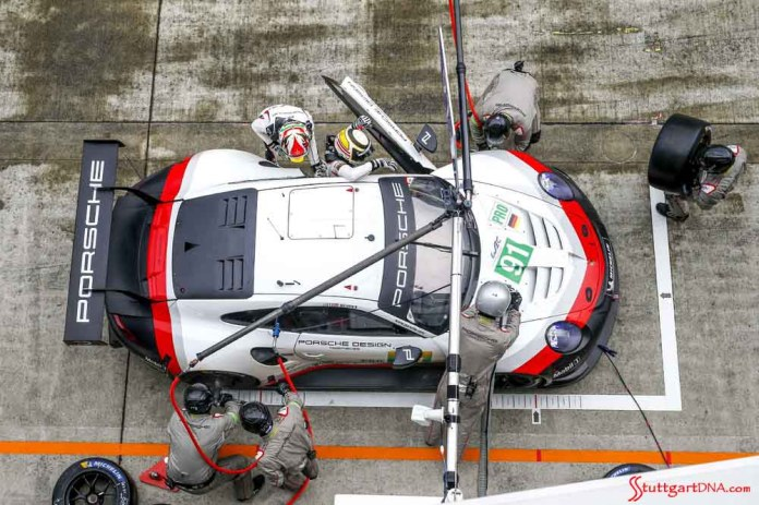 Seen here is the pit crew with No 91 in this overhead shot at 2018 WEC. Creditt: Posche AG