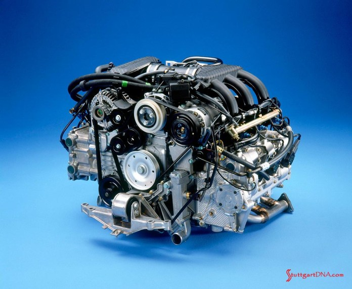 996-gen Porsche 911 Buyer Guide: On display here is the 986 Boxster 2.5-liter flat six from 1997, without its exhaust system attached. Credit: Porsche AG