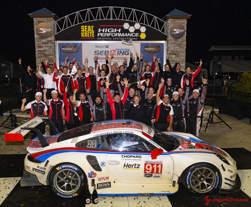 Porsche wins 2019 IMSA Sebring 12 Hours: Pictured here is the 2019 Sebring12 Hours-winning No 911 with its GT Team cheering in triumph in b.g. Credit: Porsche AG