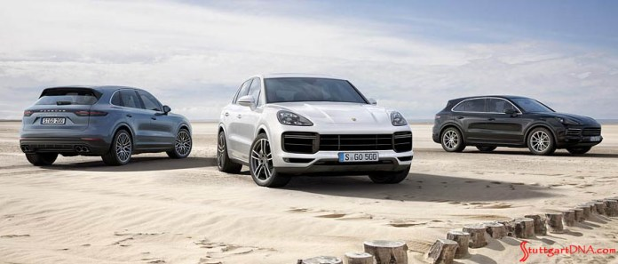 January 2019 Porsche USA sales: Depicted here is a picturesque vista of 3 Cayennes poised on sands against the wispy backdrop of a clouded sky. Credit: Porsche AG