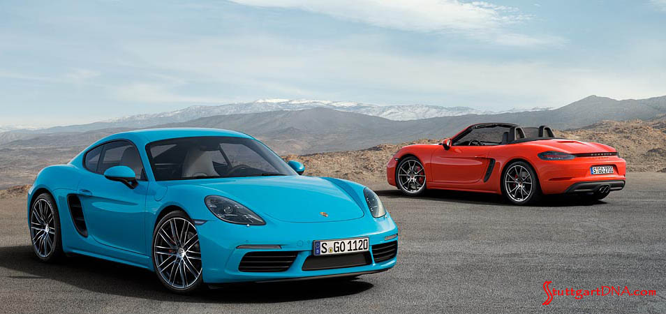 2017-2019 Porsche 718 voluntary recall: 718 Boxster S and Cayman S poised against mountain b.g. Credit Porsche AG