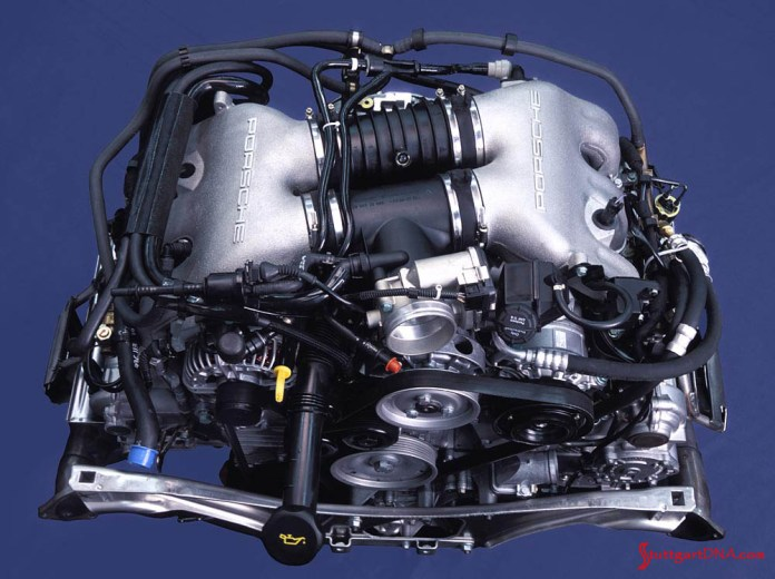 996-gen Porsche 911 Buyer Guide: Pictured here is the 996 engine with the 345 hp Powerkit, which puts out 345 hp, resulting from updated cylinder heads, new camshafts, new intake manifolds, a new exhaust system and upgraded engine management. Credit: Porsche AG