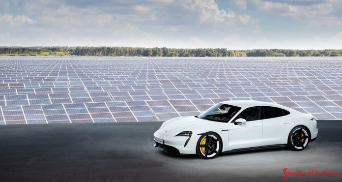 Porsche Taycan first electric sports car world premiere: Pictured here is a white Taycan Turbo S displayed during the world premiere at a Neuhardenberg, Germany, solar farm in b.g. Credit: Porsche AG