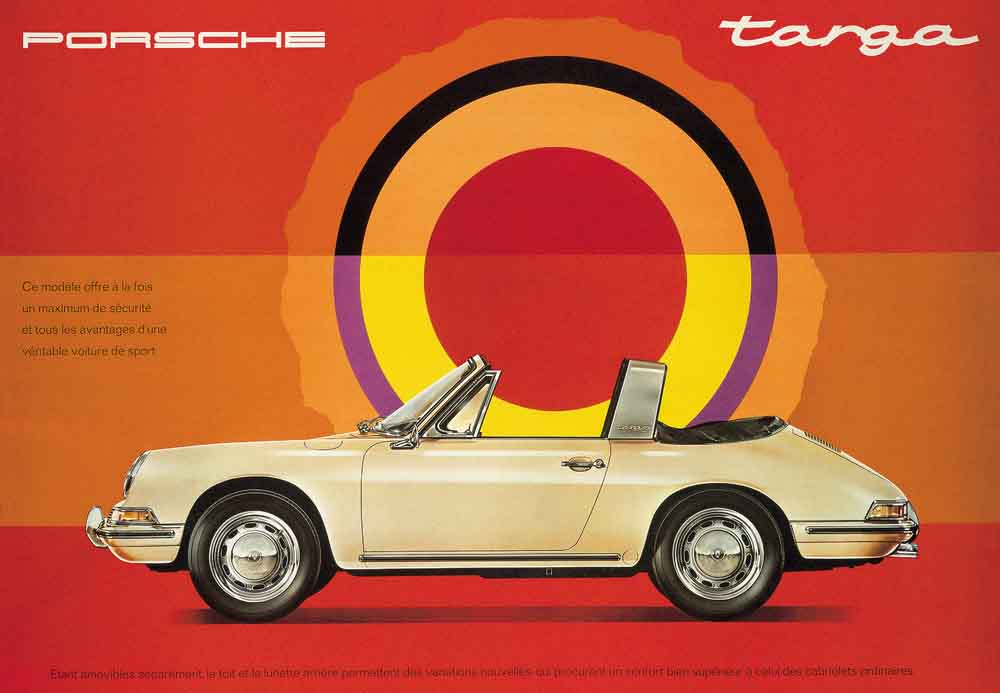 History of the Porsche Targa: Seen here is a French ad touting a yellow 1967 2.0L 911 Targa with its Targa top off and it flexible plastic window folded down. Credit: Porsche AG