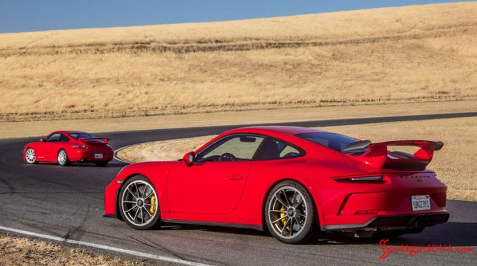 Pictured here are the 1999 Porsche 991.1 911 GT3 model in background and 2018 991.2 911 GT3 model in foreground. Credit: Porsche AG