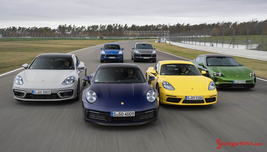 Depicted here is the entire model line running staggered on a racetrack — a veritable Porsche family portrait. Credit: Porsche
