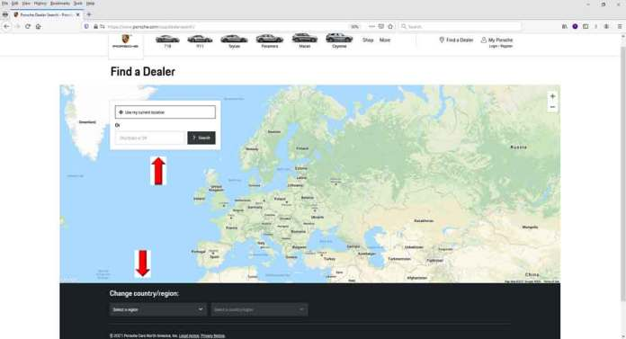 """Porsche Car Configurator conjures Artificial Intelligence: Pictured here is a screenshot of Porsche Cars North America's """"Find a Dealer"""" webpage. The red up-arrow points to where you can locate a dealer in the U.S., whereas the red down-arrow points to where a user can find a dealer in the rest of the world outside the U.S."""