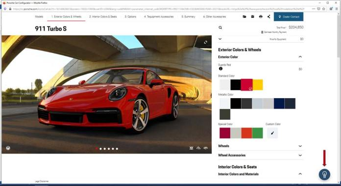 """Porsche Car Configurator conjures Artificial Intelligence: Seen here is a screenshot of the Porsche Car Configurator on the Porsche Cars North America website. Clicking on the light bulb icon (indicated by the red arrow) in the bottom-right corner activates the Artificial Intelligence """"Recommendation Engine."""" Source: Porsche Cars North America"""