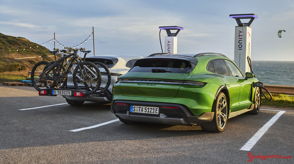 Porsche AG first-quarter 2021 worldwide sales: Depicted here are two Taycan 4 Cross Turismos charging their batteries at the seashore. Credit: Porsche AG