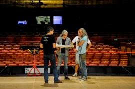 Unsere Beleuchtungs-Crew: Matthias Hettenbach, Stefan Seyrich, Davor Grbesa and Thomas Wittlief besprechen die die Beleuchtungseinrichtung für Onegin
