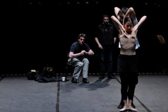 Bühnenprobe mit Agnes Su, Martí Fernandez Paixa, Marco Goecke, Rolando D'Alesio und Hund Gustav