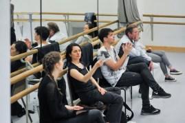 Die aufmerksamsten Probenbeobachter: Jessica Dietz, Yseult Lendvai, Demis Volpi, Thierry Michel