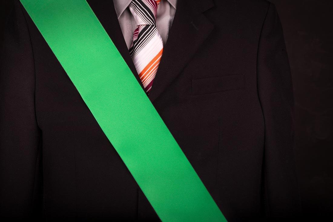 0a6fb6a76067 Zelená čistá maturitná šerpa na voľné použitie na stužkovú slávnosť