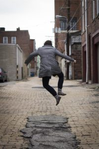 happy jumping person