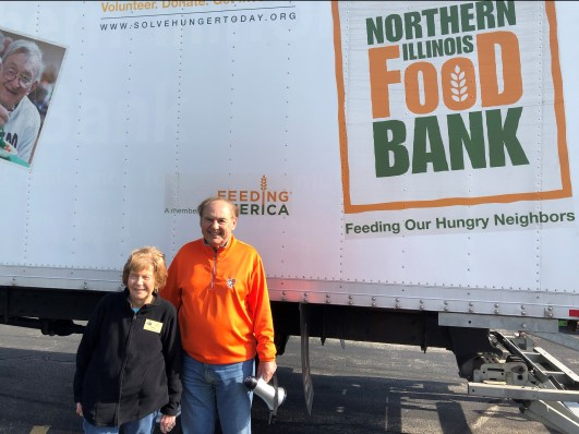 Truck contains 10,000 lbs. of food for distribution