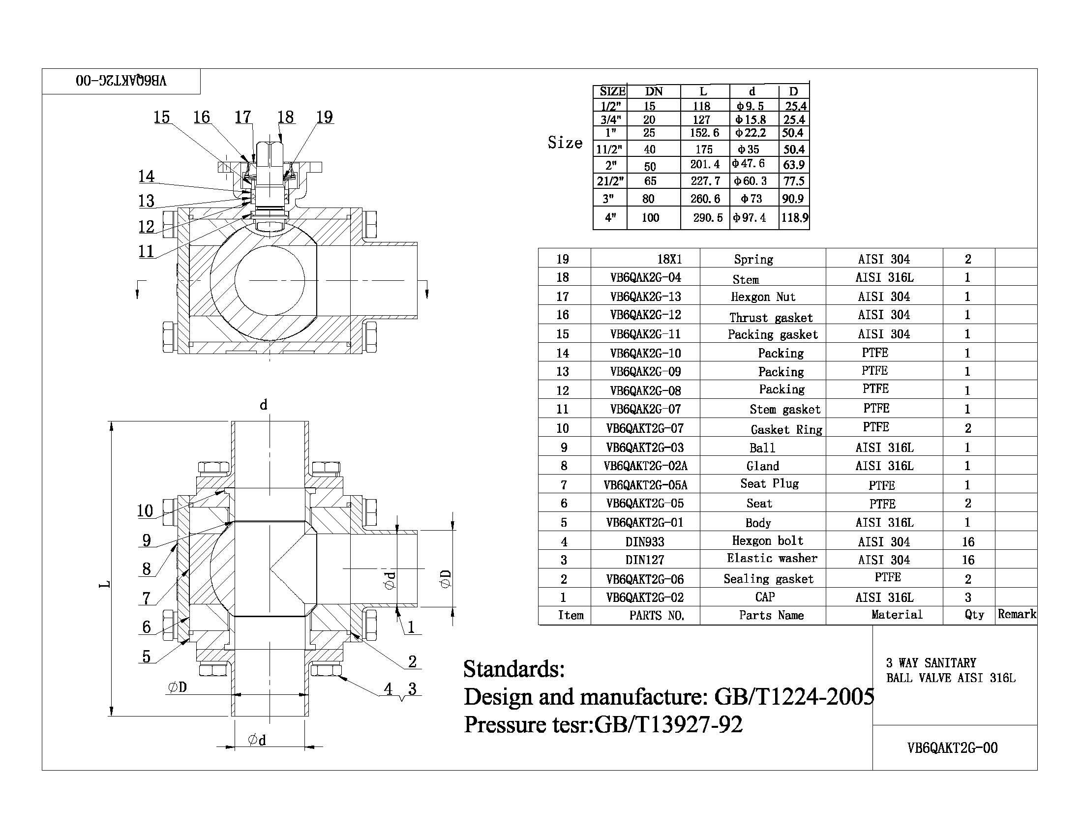 3 Way Sanitary Ball Valve Aisi 316l China Industrial