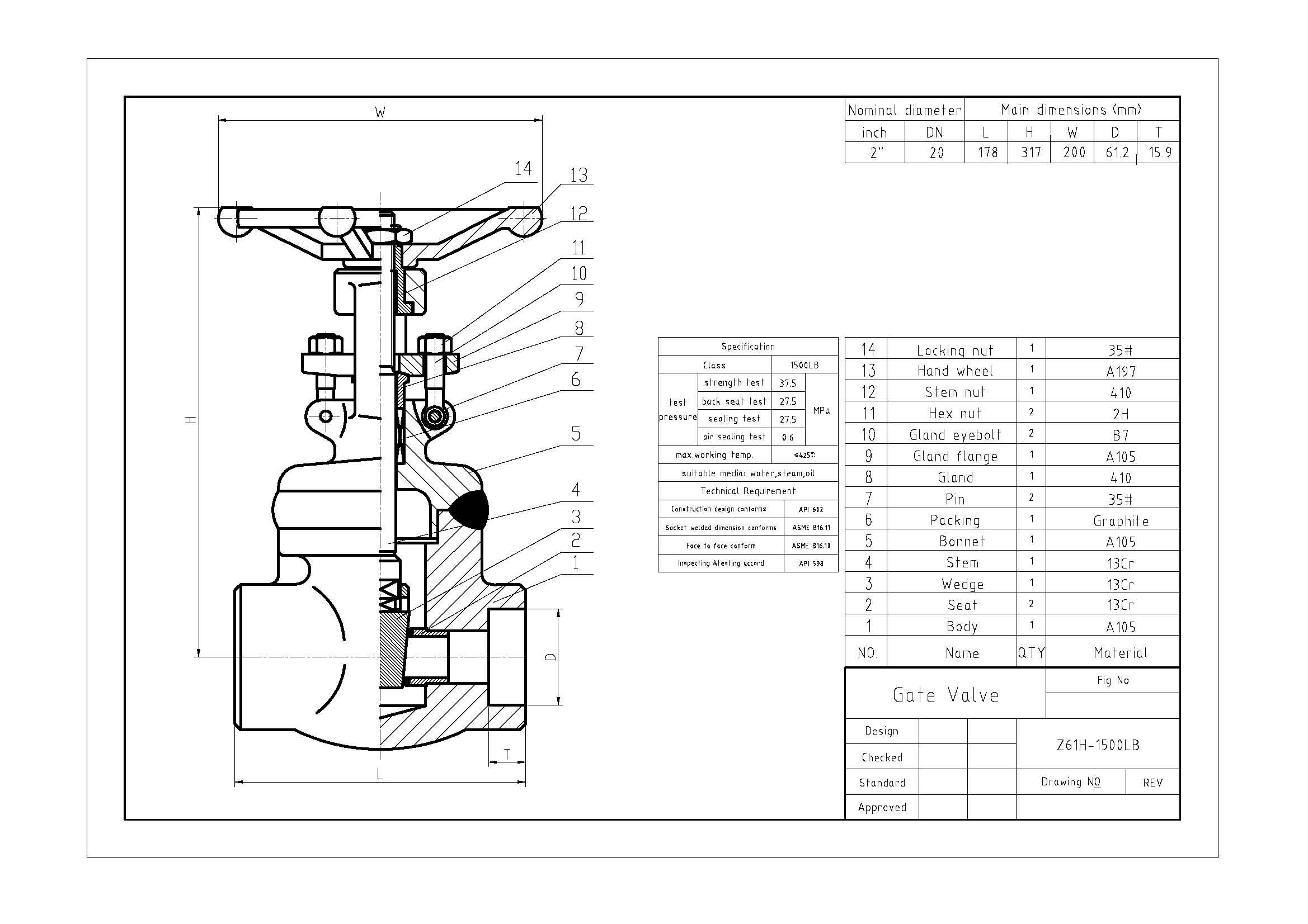 Lb Forged Steel Weld Bonnet Gate Valve A105n Body Dn50