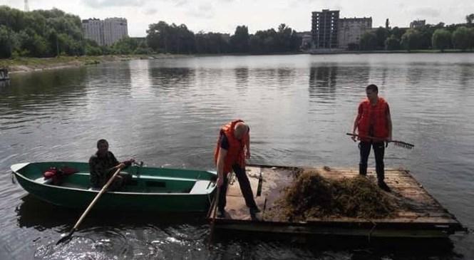 У Івано-Франківську активісти зібрались на толоку до міського озера – чистили від водоростей