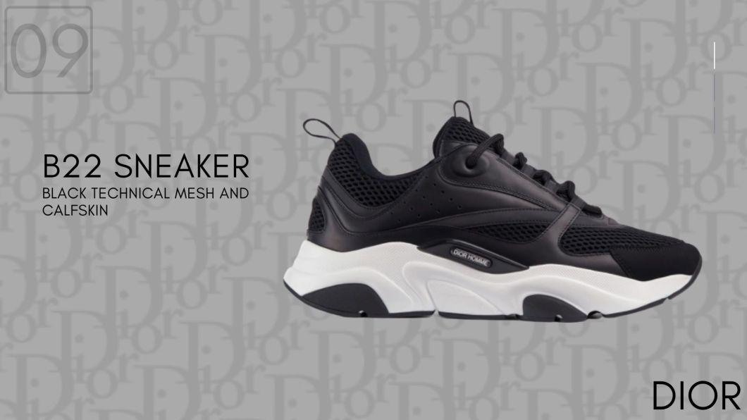 B22 Black Technical Mesh and Calfskin-Dior Sneakers-รองเท้าดิออร์