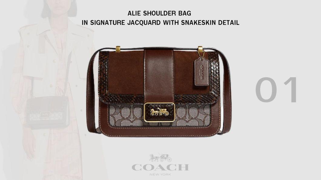 ALIE SHOULDER BAG IN SIGNATURE JACQUARD WITH SNAKESKIN DETAIL