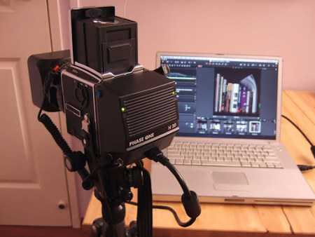 Hasselblad with a Phase One H20 tethered to a laptop. Source: ClubSnap
