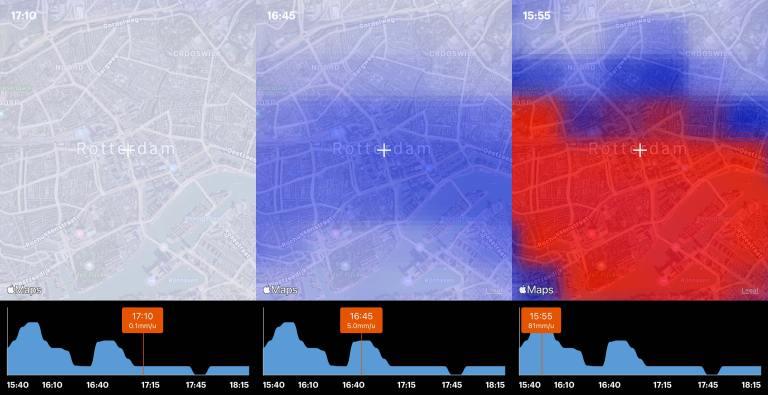 Buienradar app with exponential graph