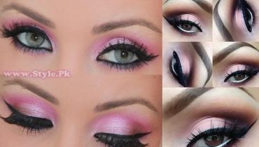 shimmery pink eye make up with smokey ends - Style.pk