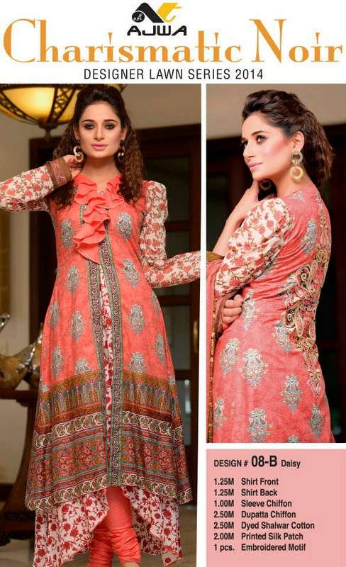 Ajwa Textile Summer Dresses 2014 Volume 2 For Women 001