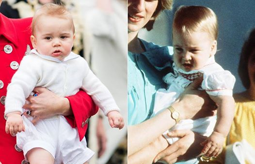 Prince George and Prince William picture at their first Royal tour.