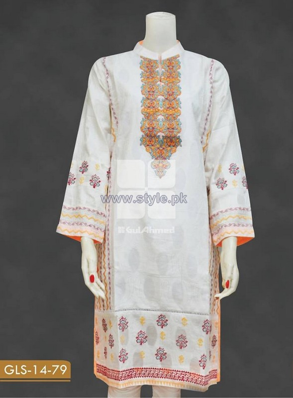 Gul Ahmed White Jacquard Dresses 2014 For Women 8