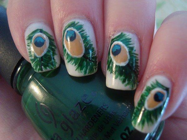 Peacock Nail Art Designs For Summer Season 003