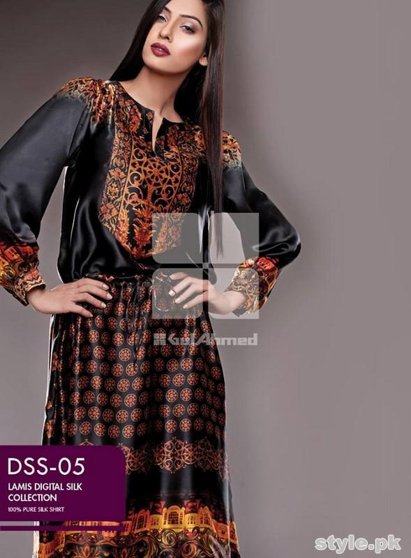 Gul Ahmed Lamis Digital Silk Dresses 2015 For Women 3