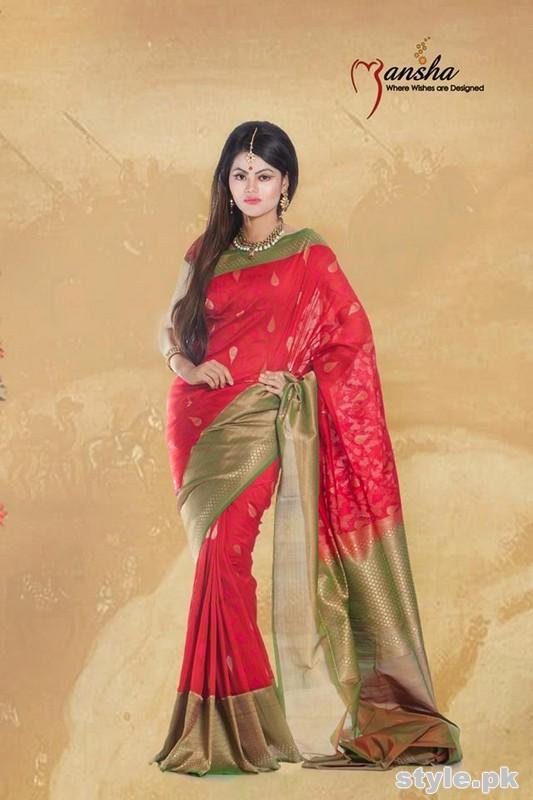 Latest Designs Of Banarsi Sarees 2015 In Pakistan 10