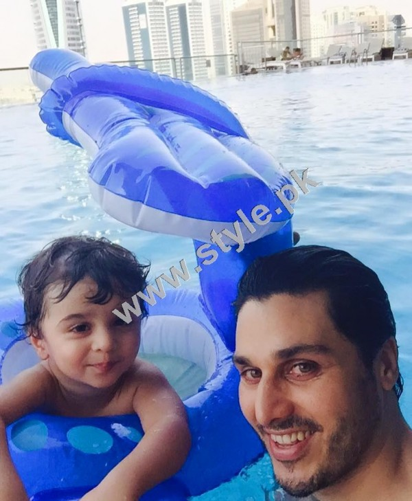 See Pictures of Ahsan Khan with his son in UAE