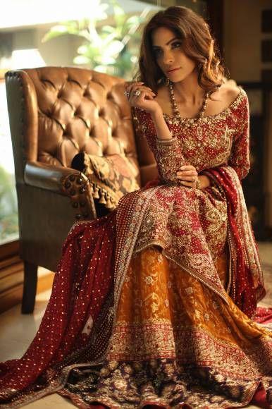 Pakistani Barat Dresses 2016 -orange