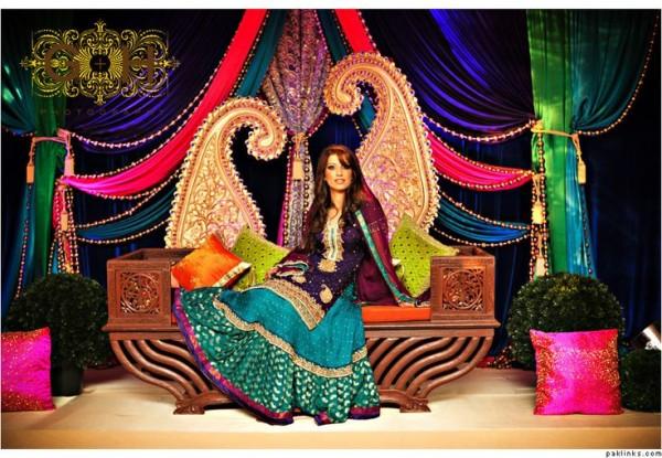 Blue Pakistani mehndi dresses