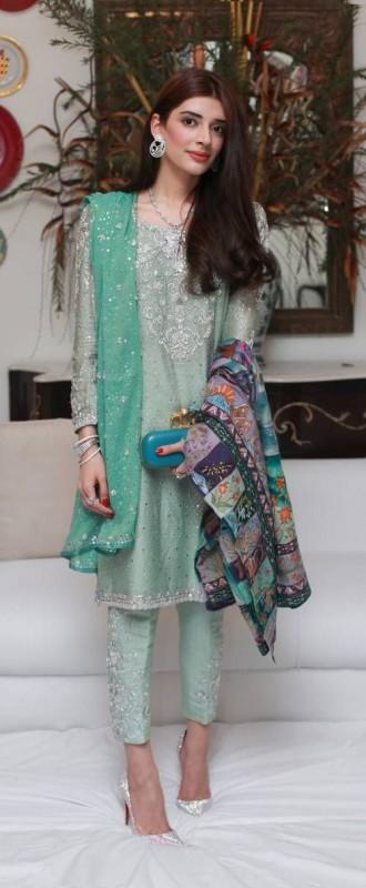 Green Pakistani Fancy Dresses For Girls
